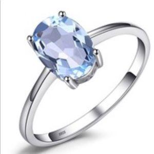 Jewelry - Zales Size 7 925 Stamped SS 1.5C Aquamarine Ring